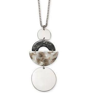 "Tortoise-Look Geometric 36"" Pendant Necklace"